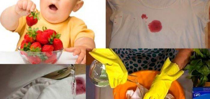 Выведение пятен от сока с детской одежды