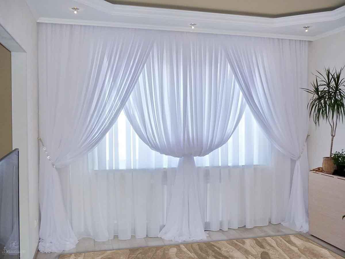 Белоснежные шторы из вуали